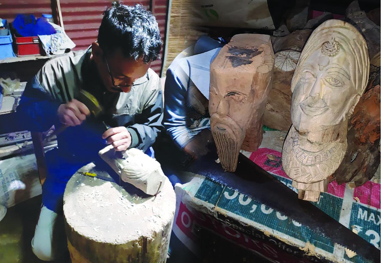 कलाकार का जज्बा, 26 साल बाद फिर से लकड़ी की मूर्तियां तराशने में जुटा