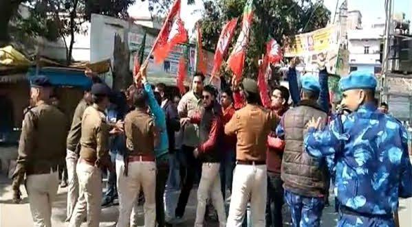 CAA विरोध में पहुंचे कन्हैया कुमार के खिलाफ लगा 'गो बैक' के नारे