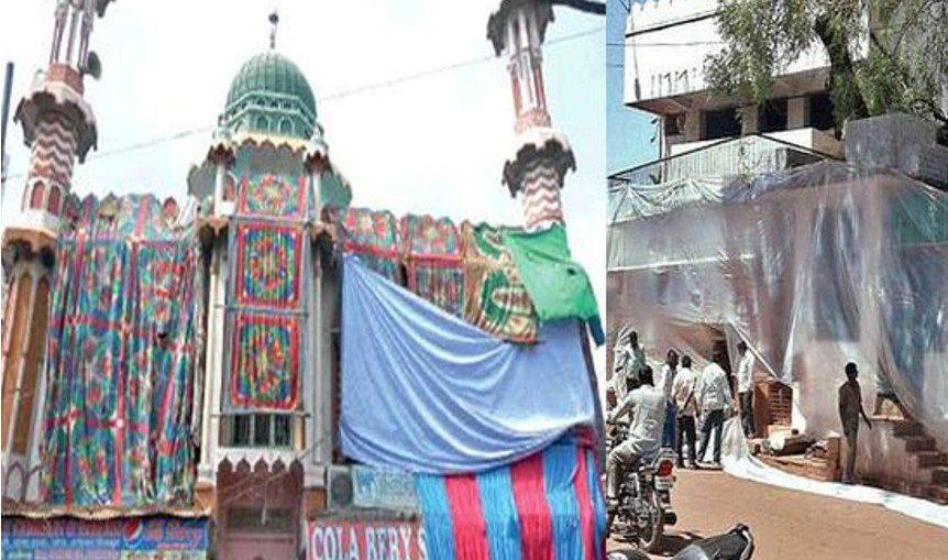 अलीगढ़ में पुलिस ने मस्जिद को तिरपाल ढंकवाया, बताई ये वजह