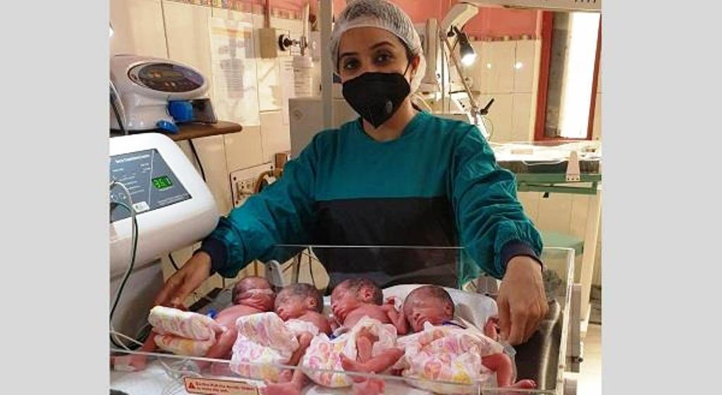 हरियाणा के अस्पताल में एक महिला ने दिया 4 बच्चों को जन्म