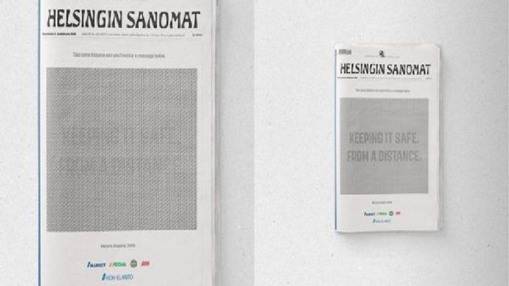 सोशल डिस्टेंसिंग का महत्व समझाने के लिए फिनलैंड के अखबार ने छापा अनोखा विज्ञापन