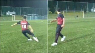 Virat Kohli ने फुटबॉल किक मारते ही ढका अपना चेहरा!, देखे वीडियो